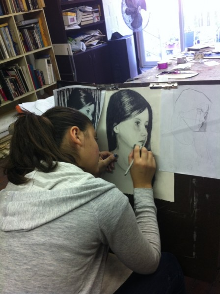 Student in Portfolio Preparation Class Working on Charcoal Portrait