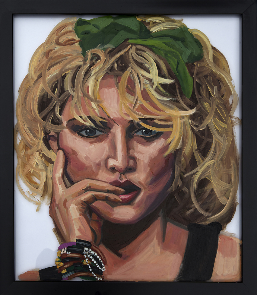 Painting of Madonna On Glass Oil on Glass 16 x 24 inches