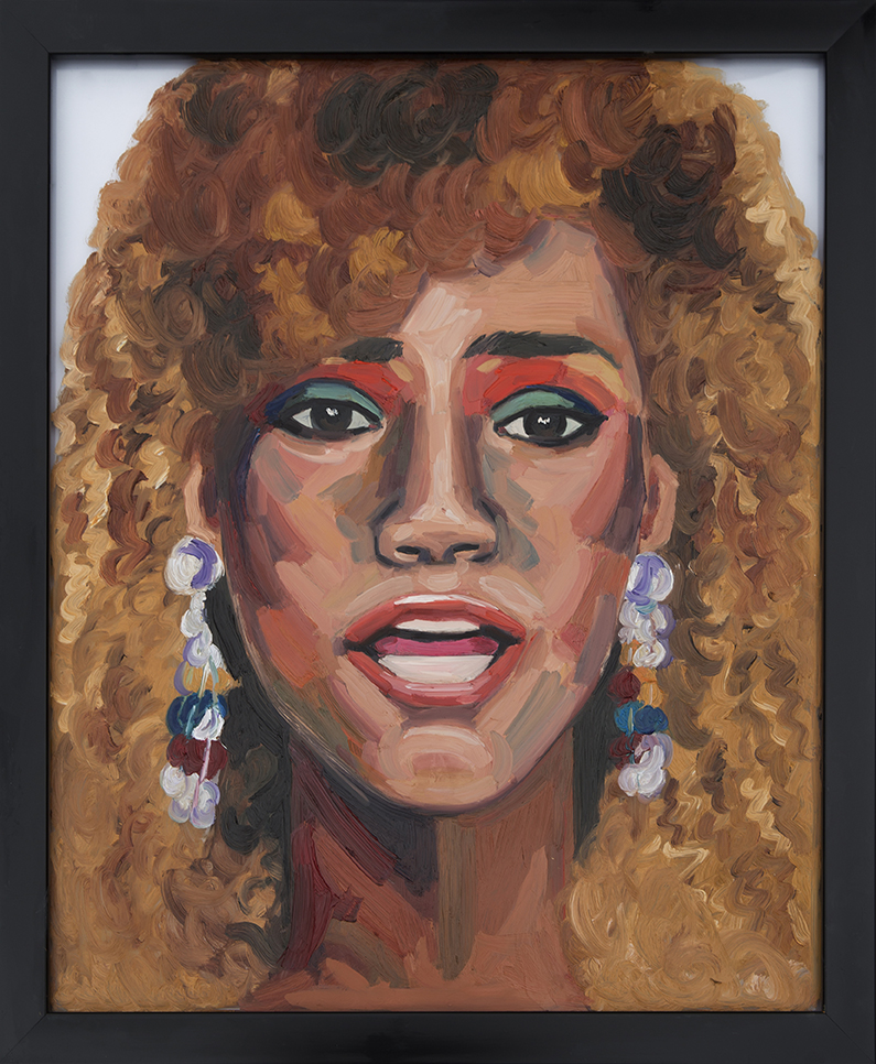 Painting of Whitney Houston On Glass Oil on Glass 16 x 24 inches