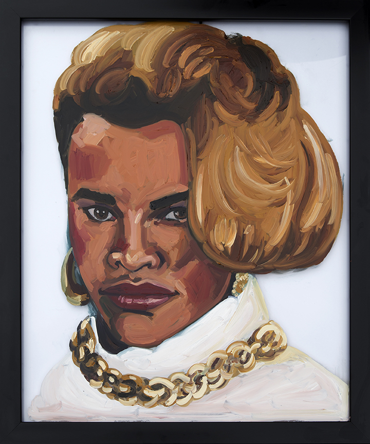 Painting of Sandra Denton of Salt-N-Pepa On Glass Oil on Glass 16 x 24 inches