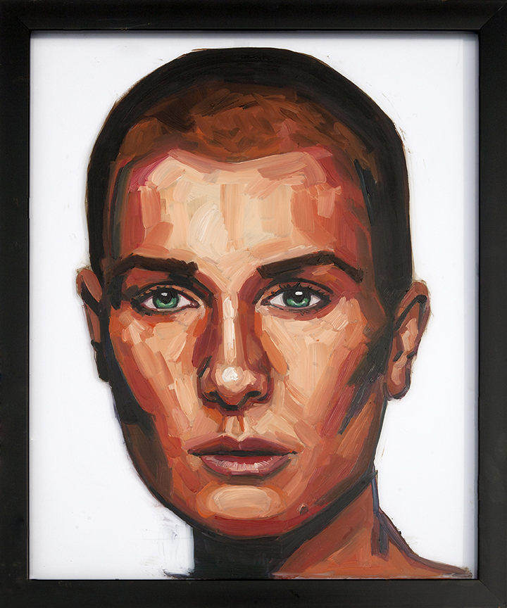Painting of Sinead O'Conner On Glass Oil on Glass 16 x 24 inches