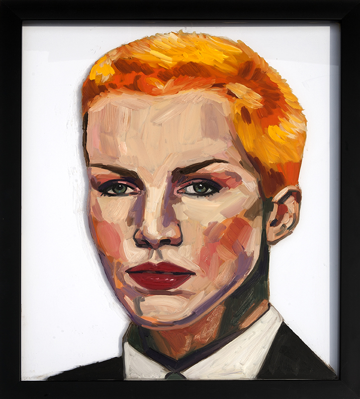 Painting of Annie Lennox On Glass Oil on Glass 16 x 24 inches
